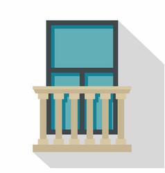 classic balcony balustrade with window icon vector image