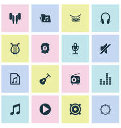 Audio icons set collection of dossier earmuff vector