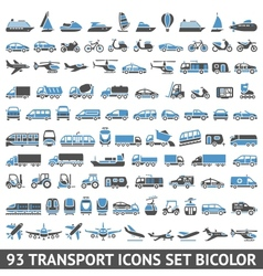 93 transport icons set blue and gray vector