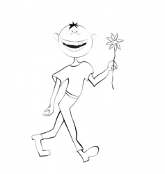 Boy with flower sketch vector