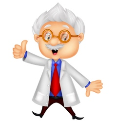 Professor cartoon giving thumb up vector