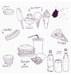 set of fast food sketch vector image