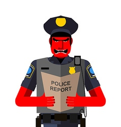 Angry policeman shouts dreaded red man in a vector