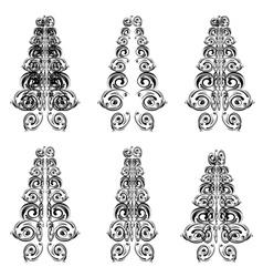 Swirls Floral Christmas Tree vector image