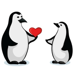 Penguins with valentine heart vector