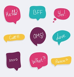 Colorful questions speech bubbles set in flat vector