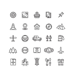 Road auto line icons vector