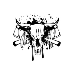 Skull bull and crossed axes vector