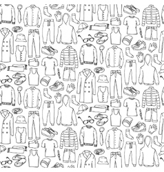 Doodle seamless pattern with man clothes vector