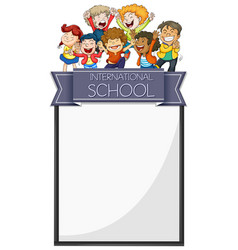 Banner design with kids from international school vector