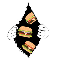 Big tasty burger and hands vector