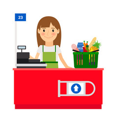 Cashier lady at her workplace vector