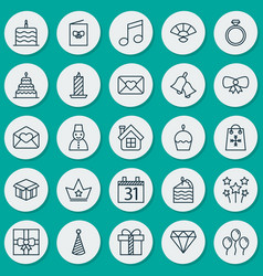 Christmas icons set collection of ringer open vector