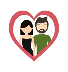 Couple love frame heart fashionable modern vector