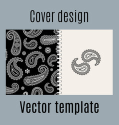 cover design with indian paisley pattern vector image vector image