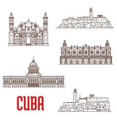 Cuba tourist architecture travel attraction icons vector