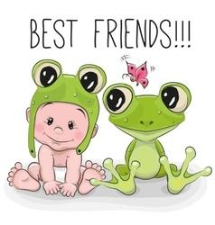 Cute cartoon baby and frog vector