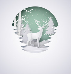 Deer in forest with snow in the winter season vector