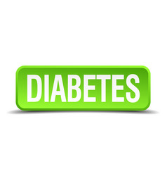 Diabetes green 3d realistic square isolated button vector