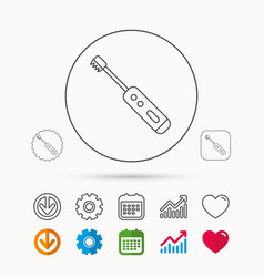 Electric toothbrush icon tooth cleaning sign vector
