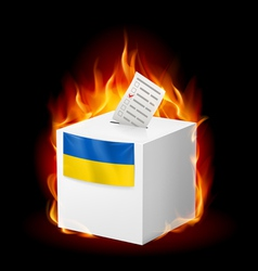 Fiery ballot box of ukraine revolution sign vector