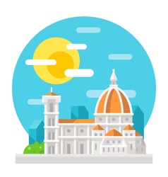Florence cathedral flat design landmark vector image vector image