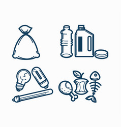 Garbage wastes trash line icons set of vector