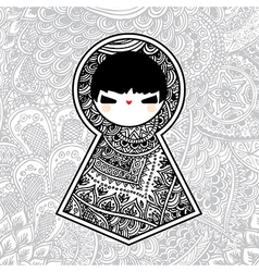 Geometric Kawaii Babushka Matryoshka Doll vector image