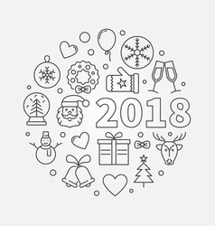 happy new year 2018 line vector image