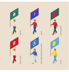 Isometric people with flags of asia and oceania vector