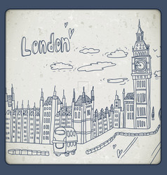 London doodles drawing landscape in vintage style vector image