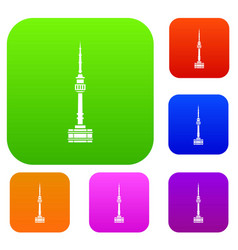 namsan tower in seoul set collection vector image