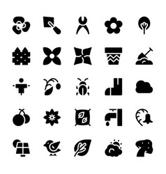 Nature and ecology solid icons 1 vector