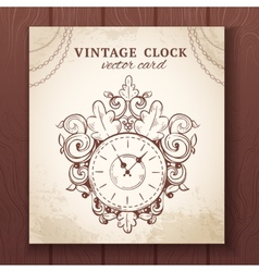 Old vintage wall clock card vector image vector image