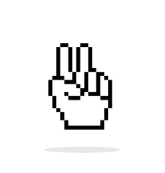 Pixel victory hand icon on white background vector