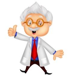 Professor cartoon giving thumb up vector