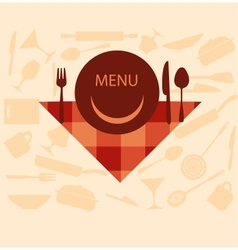 restaurant menu design with smiley on plate vector image vector image