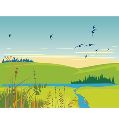 Rural lake summer landscape vector