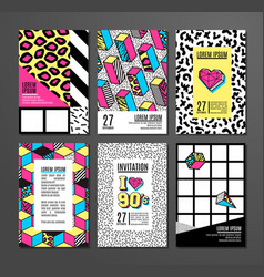 Set of cards and banners in 80s-90s memphis style vector