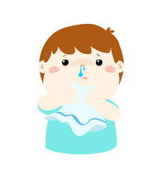 sick boy runny nose vector image vector image