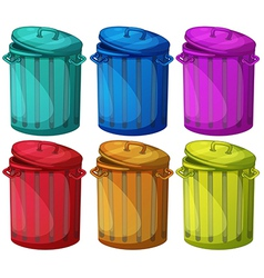 Six colorful bins vector image vector image