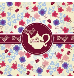 Teapot with flower pattern vector image
