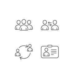 User group profile and teamwork line icons vector
