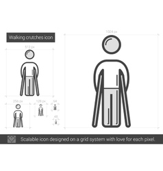 Walking crutches line icon vector