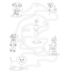 Wizard of oz coloring maze game help dorothy to vector