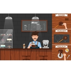 Work of barista leaflet vector