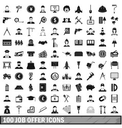 100 job offer icons set simple style vector