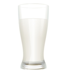 Full glass of milk isolated on white background vector