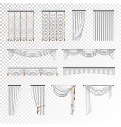 Transparent curtains draperies realistic set vector