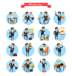 Working day busy template collection on white vector